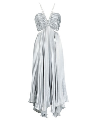 Evie Pleated Cut-Out Dress, SILVER, hi-res