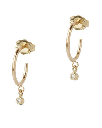 Drop Diamond Huggie Hoops, GOLD, hi-res