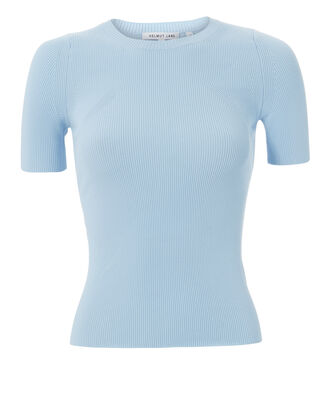 Rib Knit Essential Tee, BLUE-LT, hi-res