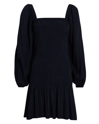 Smocked Blouson Sleeve Mini Dress, NAVY, hi-res