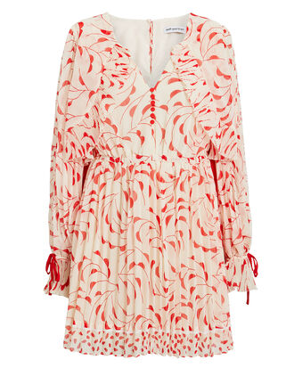 Crescent Printed Cape Mini Dress, RED/WHITE, hi-res