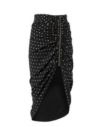 Ari Rhinestone-Ruched Skirt, BLACK, hi-res