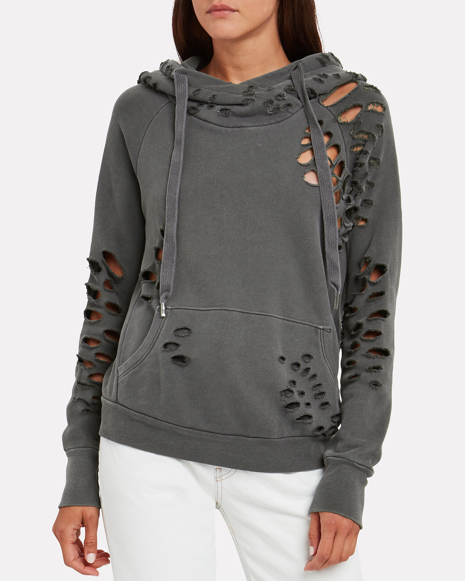 Lisse Distressed French Terry Hoodie, GREY, hi-res