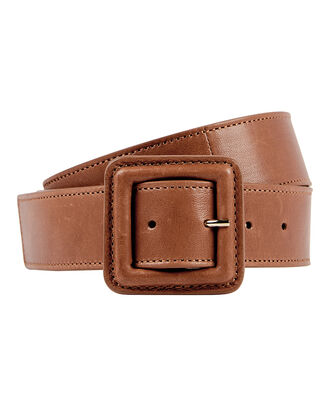 Aluma Calf Leather Belt, BROWN, hi-res