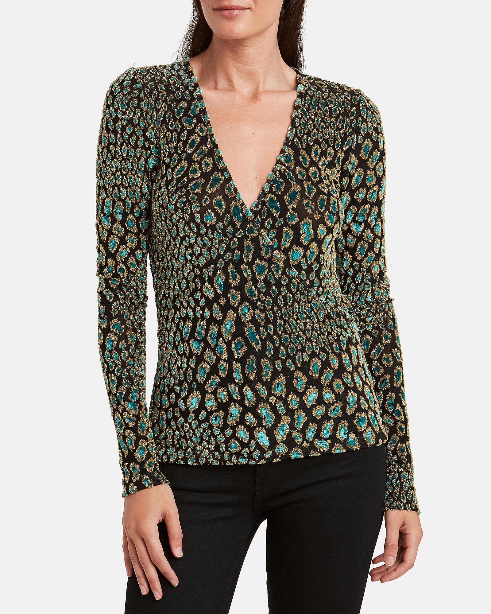 Leopard Night Out Wrap Top, BLUE-DRK, hi-res