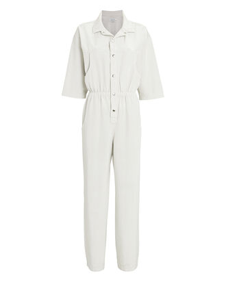 Hope Short Sleeve Button-Down Jumpsuit, WHITE, hi-res