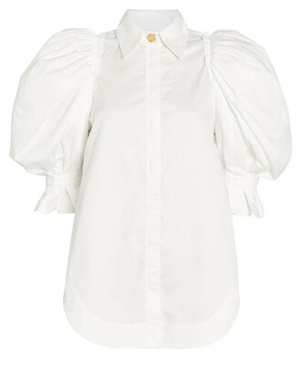 Puff Sleeve Cotton Shirt, WHITE, hi-res