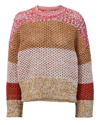 Open Knit Colorblock Sweater, RED, hi-res
