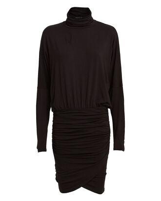 Rollins Ruched Turtleneck Dress, BLACK, hi-res