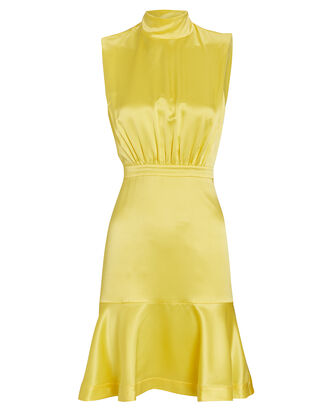 Fleur Silk High Neck Dress, YELLOW, hi-res