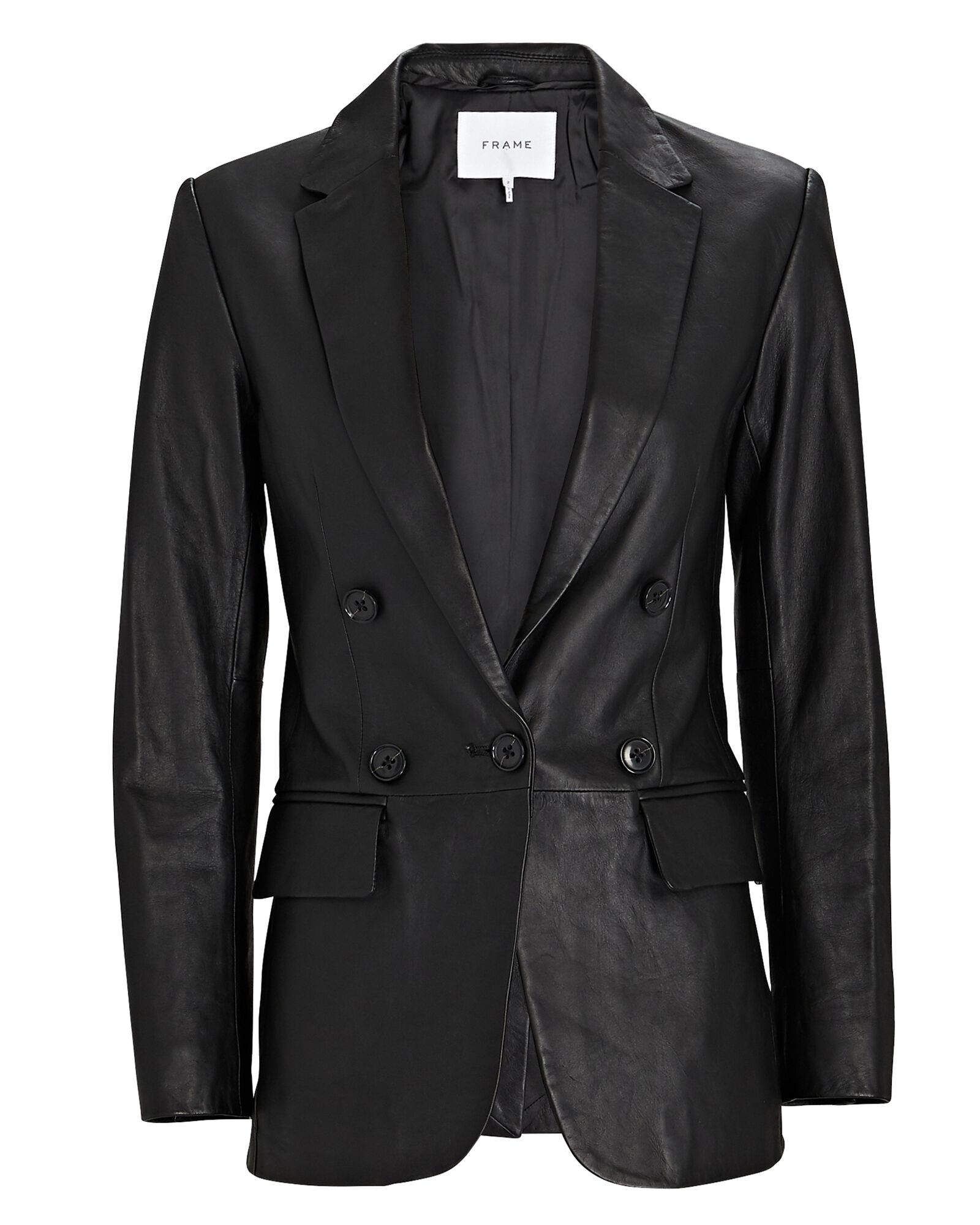 70s Leather Double-Breasted Blazer, BLACK, hi-res