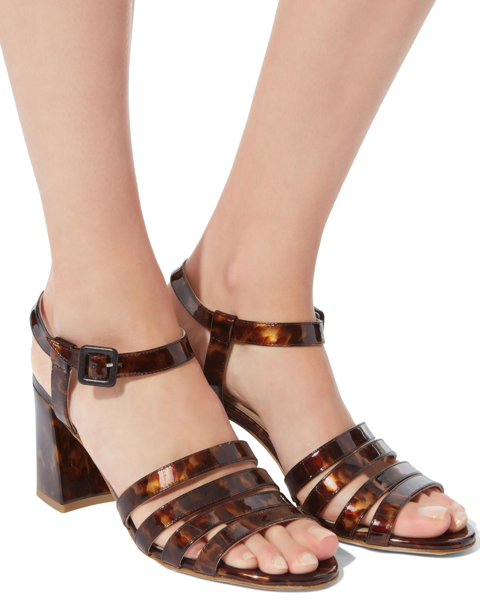 Palma Tortoise Patent Leather Sandals, BROWN, hi-res