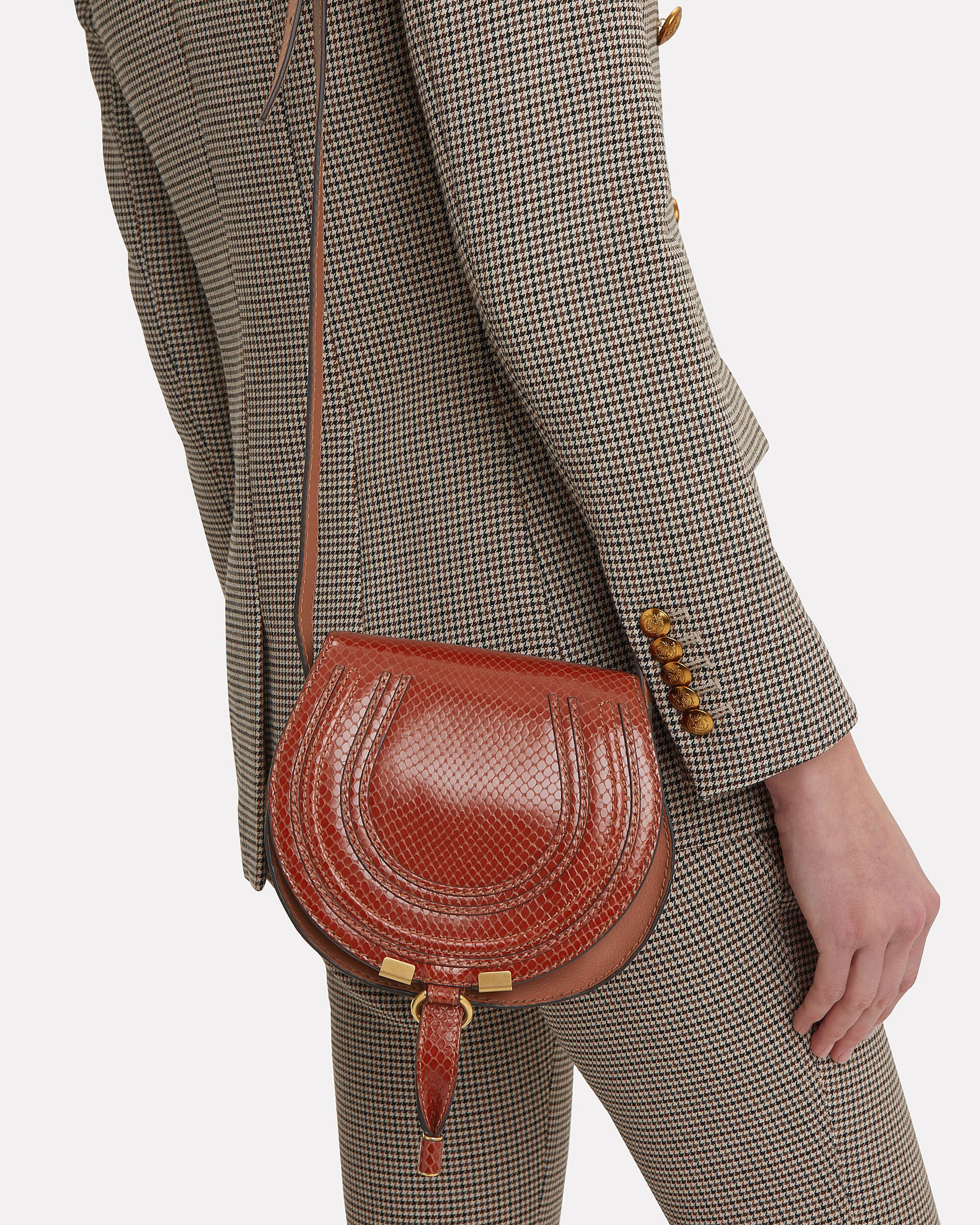 Marcie Snake Print Brown Crossbody Bag, BROWN, hi-res