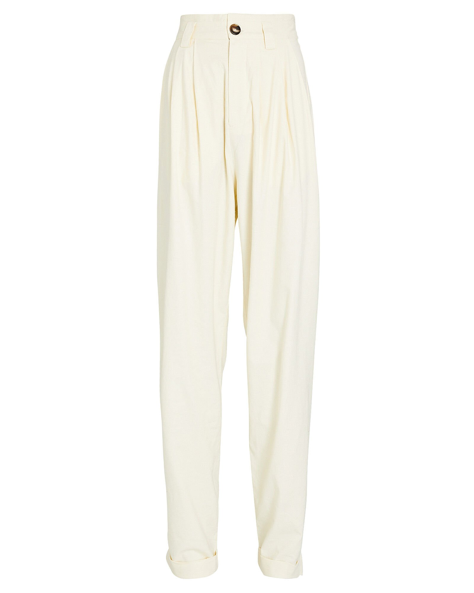 Ginevra Pleated High-Rise Pants, IVORY, hi-res