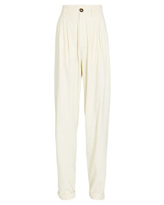 Ginevra Pleated High-Rise Pants, BEIGE, hi-res
