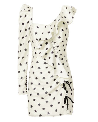 Printed Star Frill Dress, IVORY, hi-res