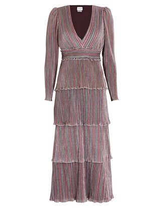 Alison Striped Long Sleeve Midi Dress, RAINBOW, hi-res