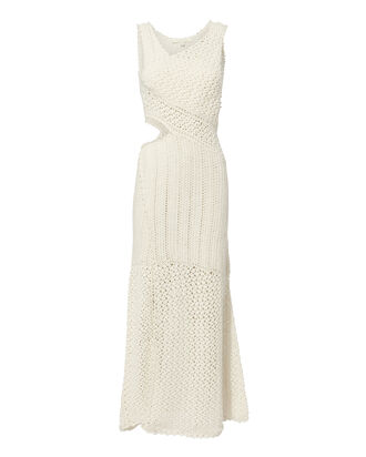 Pearl Embellished Crochet Maxi Dress, WHITE, hi-res