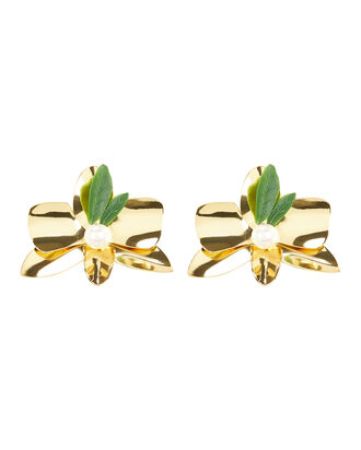 Flower Stud Earrings, GOLD, hi-res