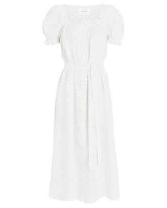 Brigitte Polka Dot Linen Midi Dress, MULTI, hi-res