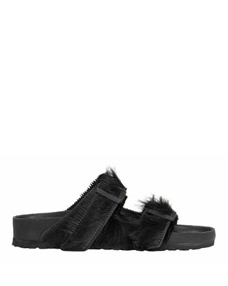 Arizona Double Buckle Black Sandals, BLACK, hi-res