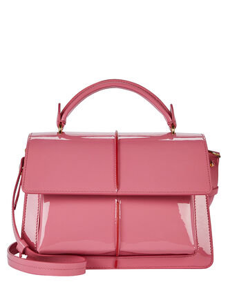 Attaché Glossy Leather Bag, PINK, hi-res