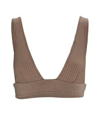 Eco Rib Knit Triangle Bralette, TAUPE, hi-res