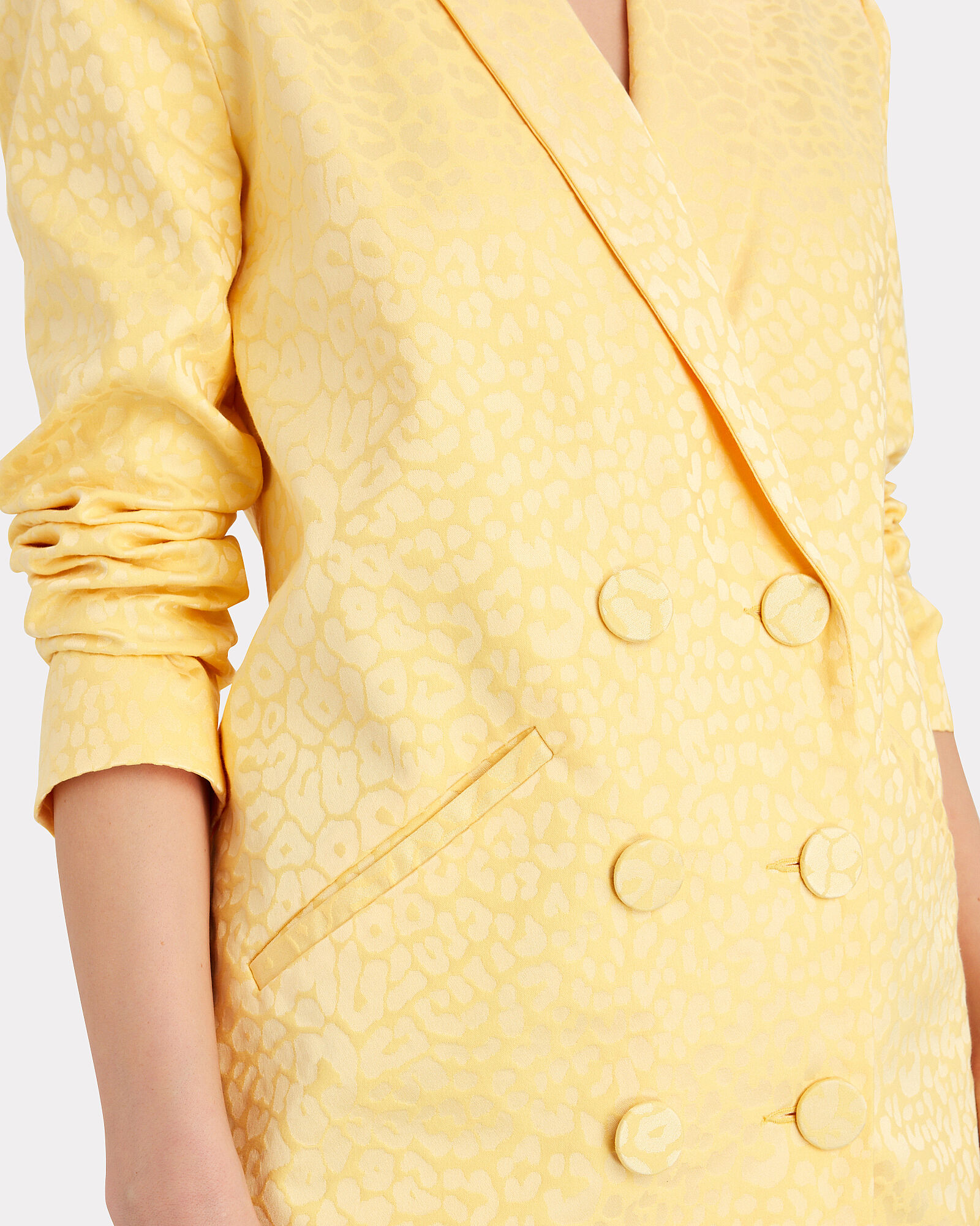 Double-Breasted Jacquard Blazer Dress, YELLOW, hi-res