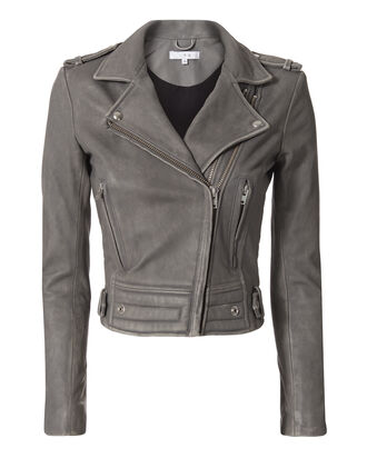 Luiga Grey Moto Leather Jacket , GREY, hi-res