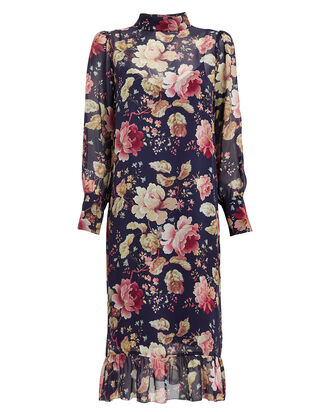 Maggie Amazing Flower Silk Dress, NAVY/FLORAL, hi-res