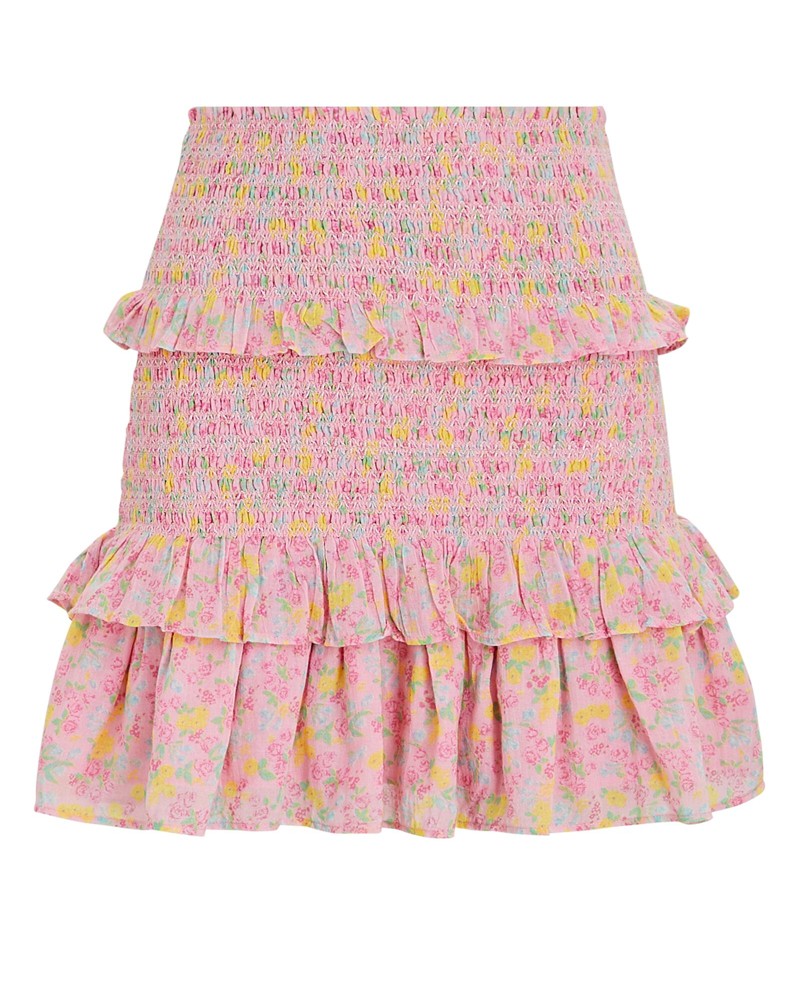 Sicily Smocked Floral Mini Skirt, PINK, hi-res