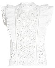 Calisata Ruffled Eyelet Top, WHITE, hi-res