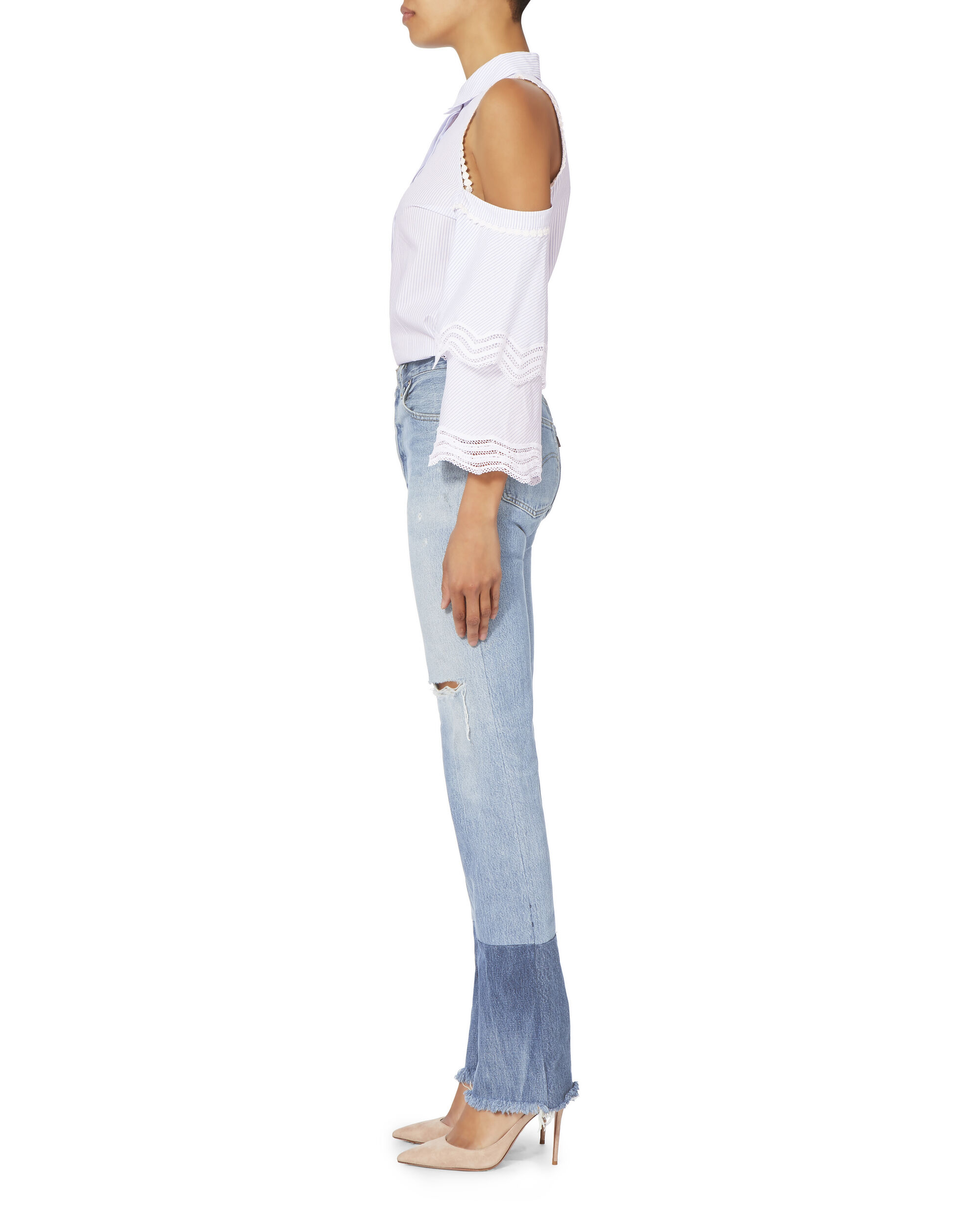 High-Rise Stove Pipe Two-Tone Jeans, DENIM, hi-res