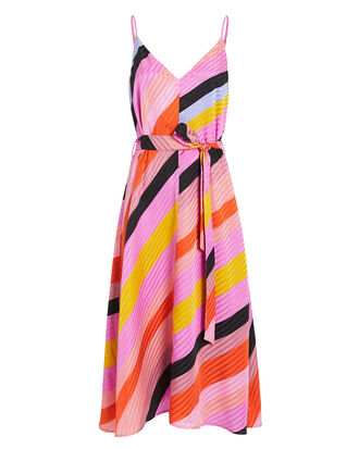 Gianna Striped Silk Dress, PINK/BLACK STRIPE, hi-res