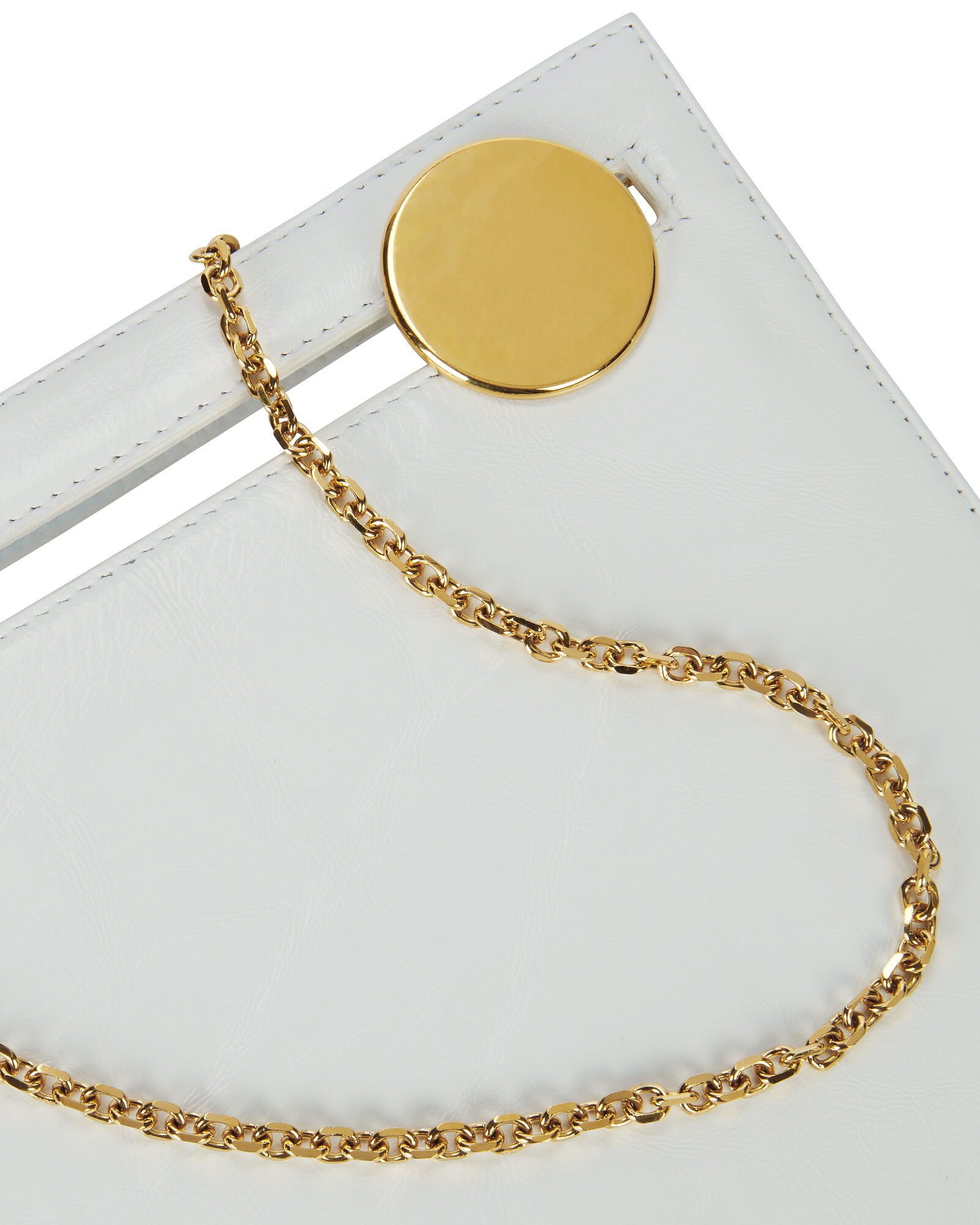 Max White Leather Square Clutch Bag, WHITE, hi-res