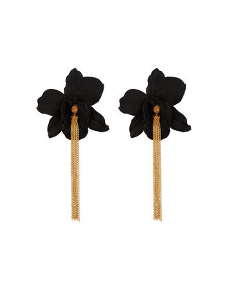 Orchid Chain Drop Earrings, BLACK/GOLD, hi-res