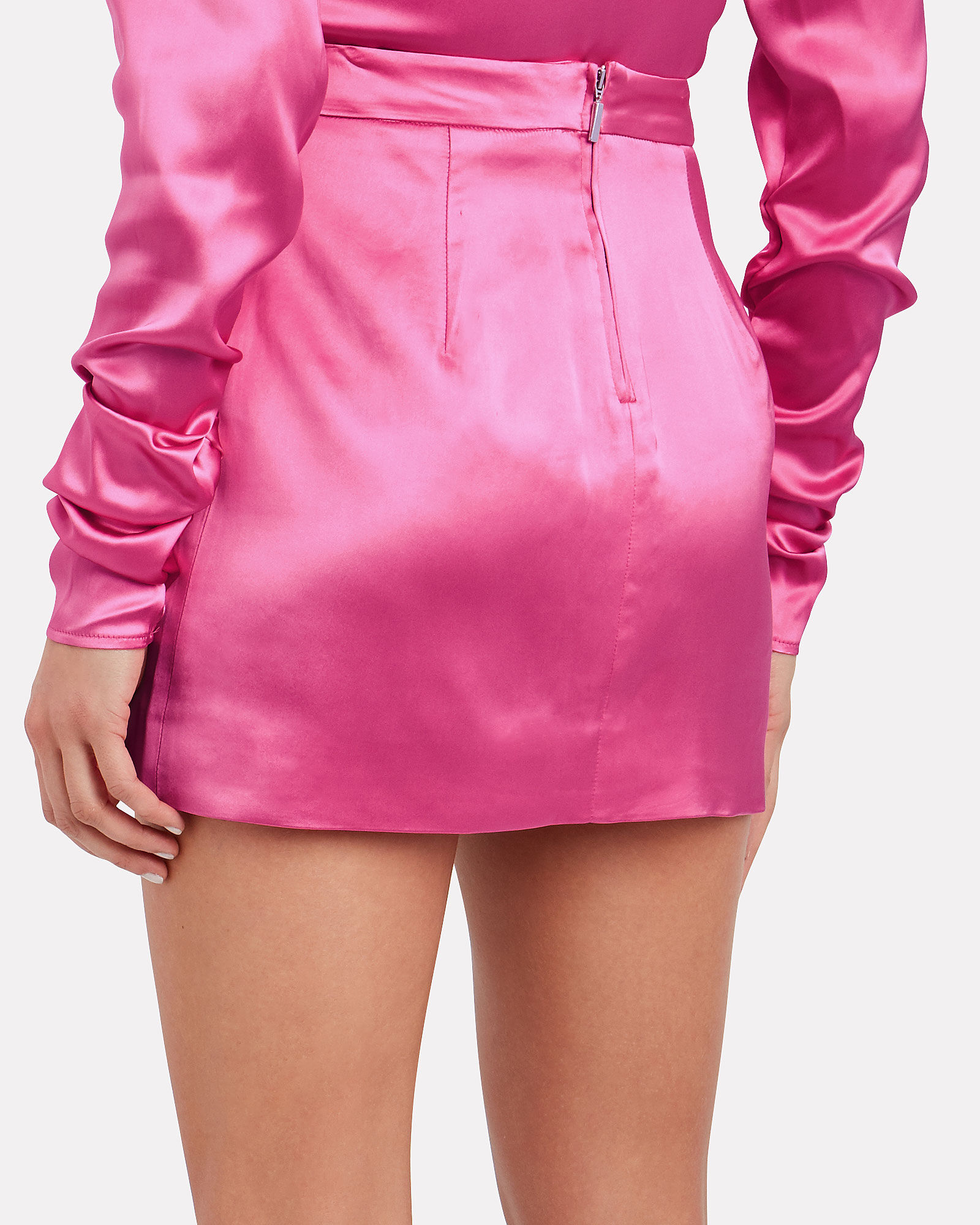 Tuscany Satin Mini Skirt, PINK, hi-res