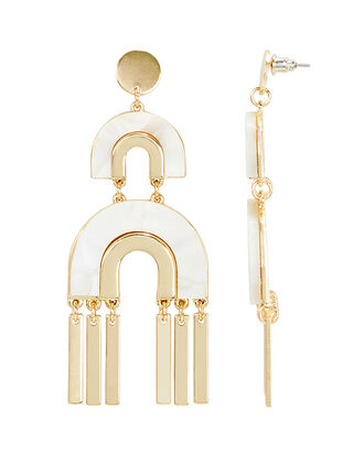 Mop Drop Earrings, GOLD, hi-res
