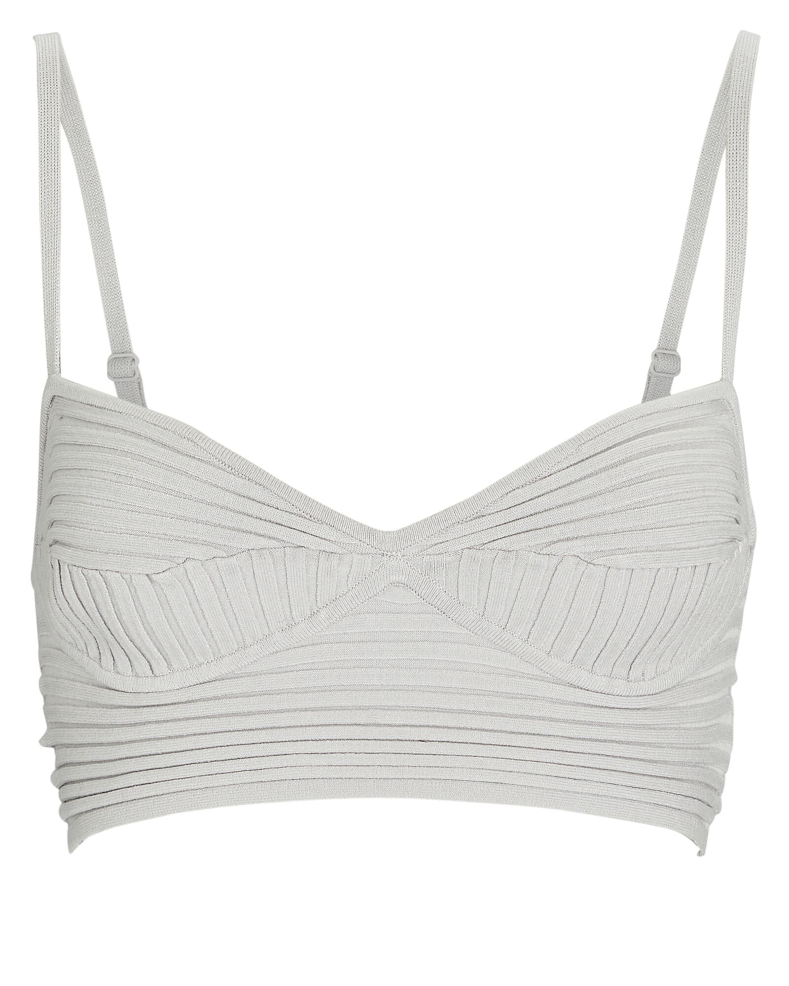 Linden Rib Knit Bralette, LIGHT GREY, hi-res