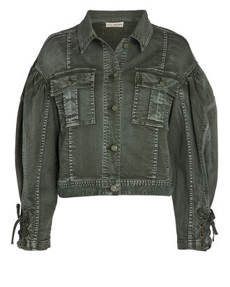 Atticus Cropped Denim Jacket, OLIVE/ARMY, hi-res
