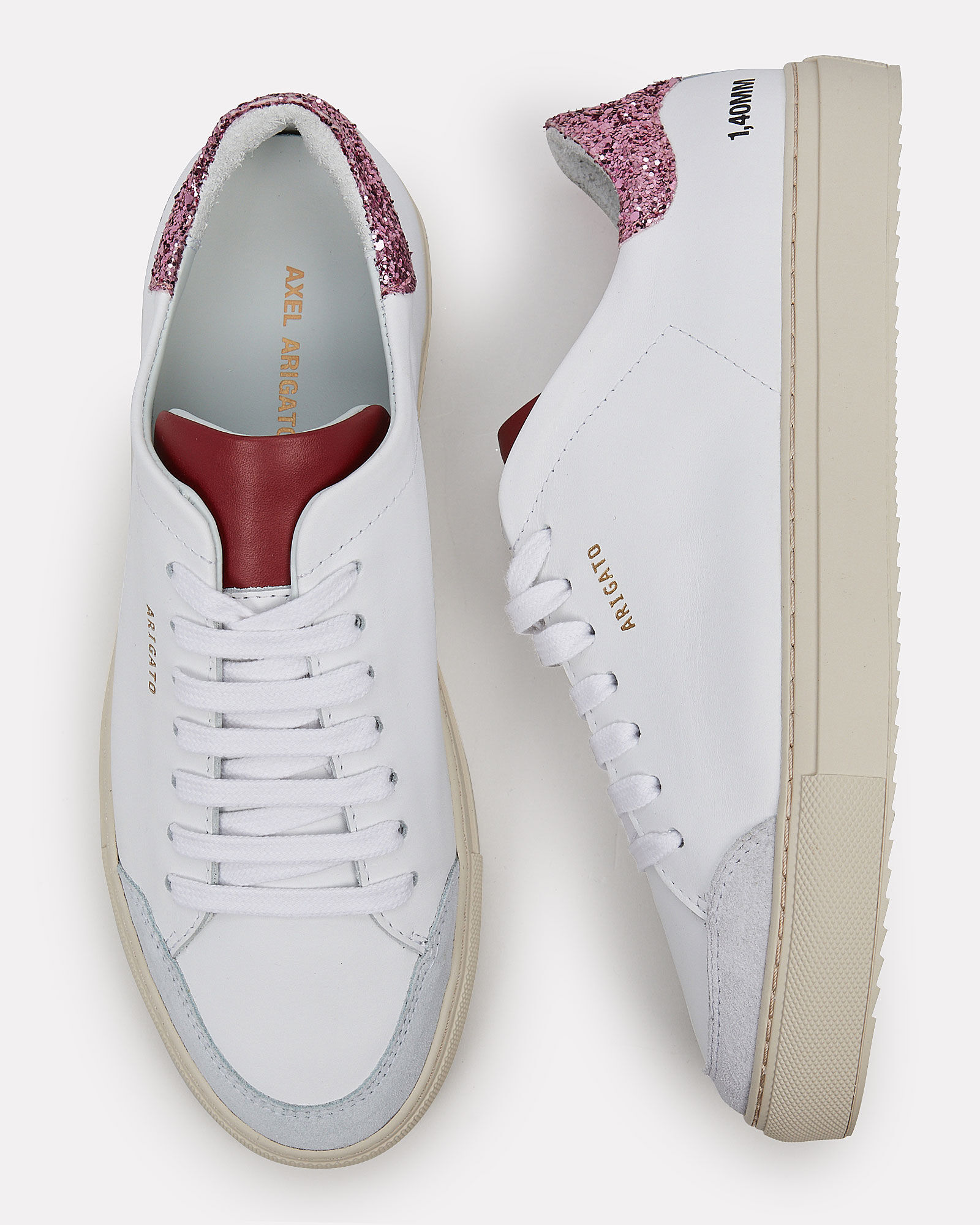 Clean 90 Leather Sneakers, WHITE/RED, hi-res