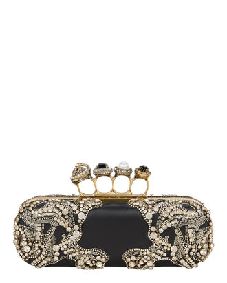 Jewel Four Ring Black Clutch, BLACK, hi-res