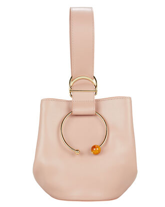 Gem Sphere Hoop Pink Leather Bucket Bag, ROSE PINK, hi-res