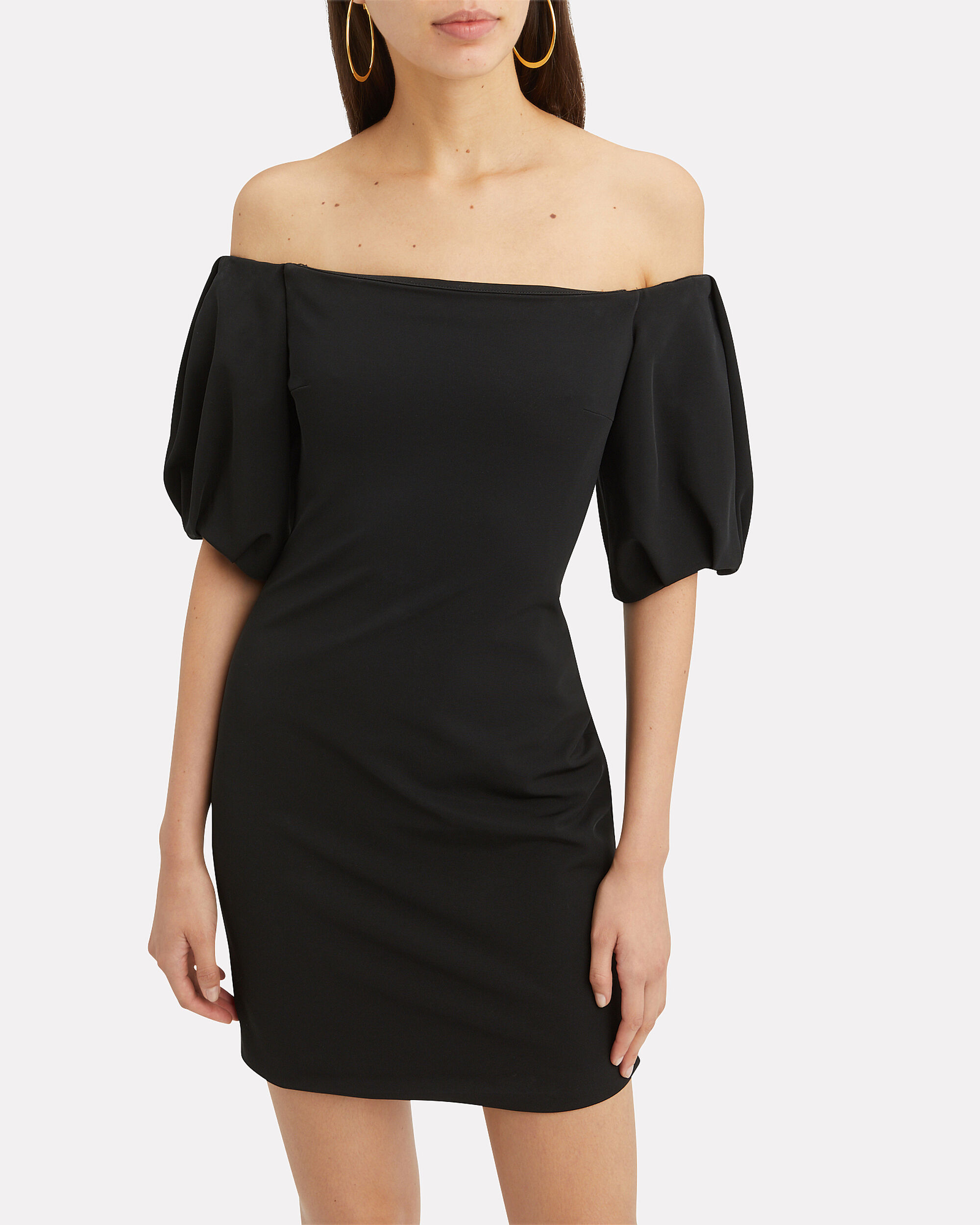 Silvia Puff-Sleeved Black Mini Dress, BLACK, hi-res