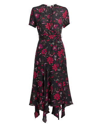 Cora Silk Crepe Floral Dress, MULTI, hi-res