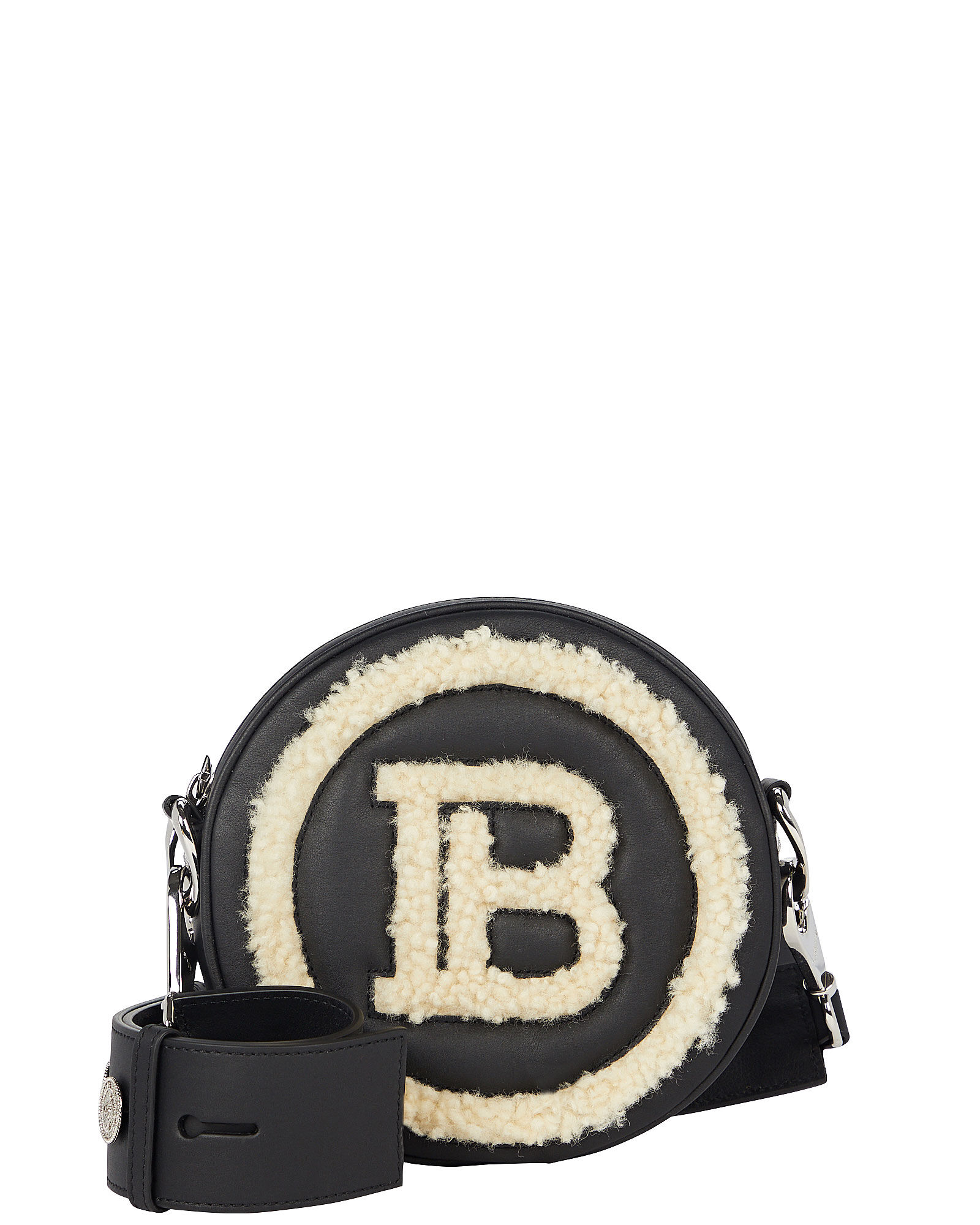 Shearling-Trimmed Disco Mini Logo Bag, BLACK, hi-res