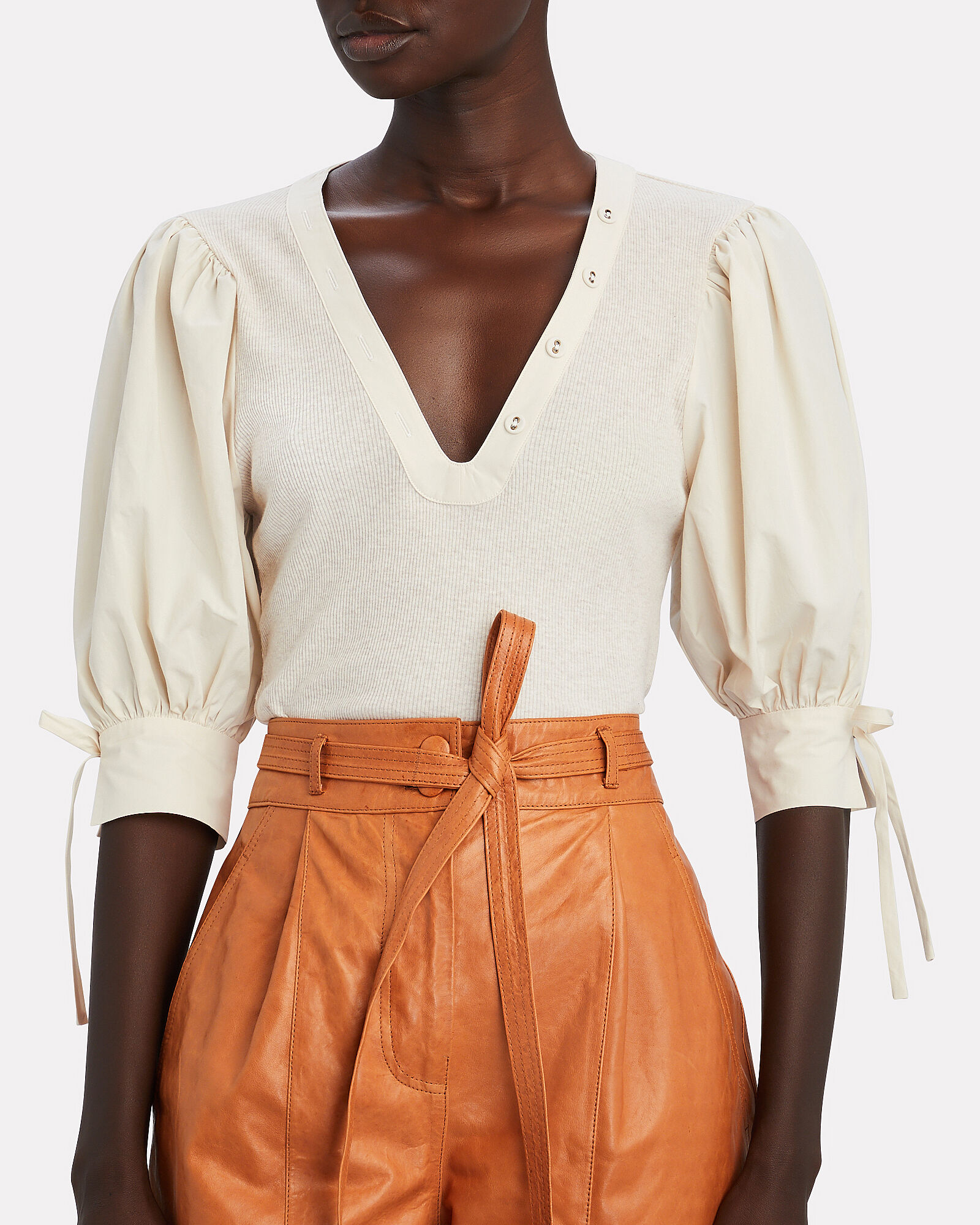 Pia Puff Sleeve Knit Top, IVORY, hi-res