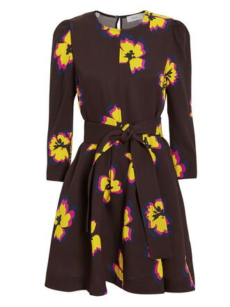 Stella Dress, CHOCOLATE/YELLOW FLORAL, hi-res