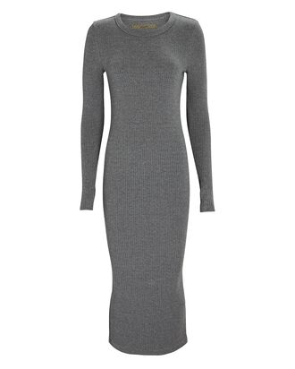 Rib Knit Midi Dress, GREY, hi-res