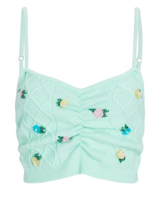 Sutton Floral Embroidered Knit Camisole, LIGHT GREEN, hi-res